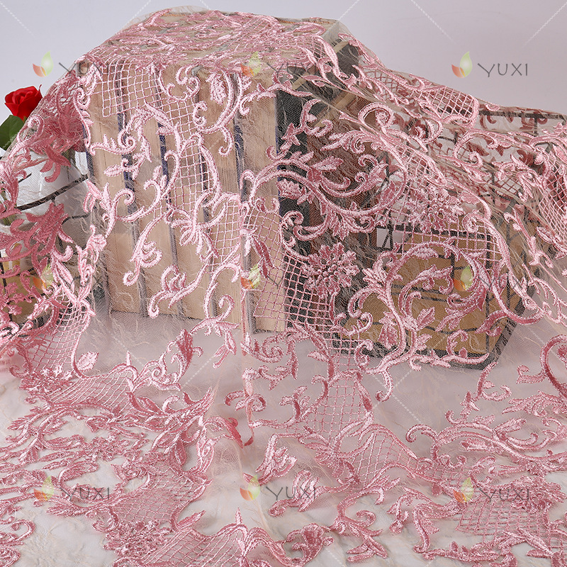 5 Yard Factory Direct Sale Yarn Flat Embroidery Textile Fabric Cloth Lace Dress Net Yard Chiffon With Fashion Mesh Fabric