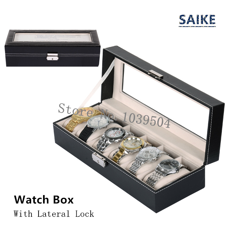 Lateral Lock 6 Grids Brand Watches Box Black Leather Display Box With Key Fashion Storage Watch And Jewelry Gift Boxes D0167 2017 top quanlity leather watch case with window black 10 grids watch storage boxes brand watch display box watch gift box b038