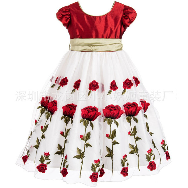 d1d083675a50 2017 Red Rose Dress Kid Girls Short Sleeve Print Baby Girl Clothes ...