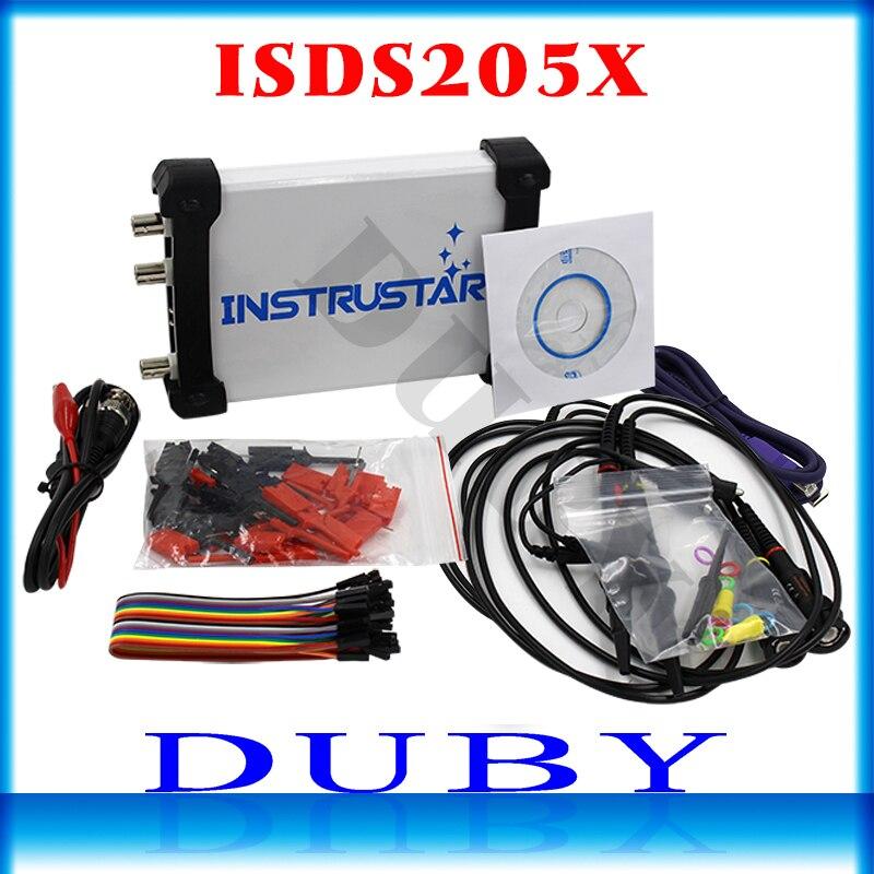 ISDS205X Virtual PC USB sinal DDS osciloscópio e analisador lógico 2CH largura de banda de 20 MHz 48MSa/s 8bit ADC FFT analisador