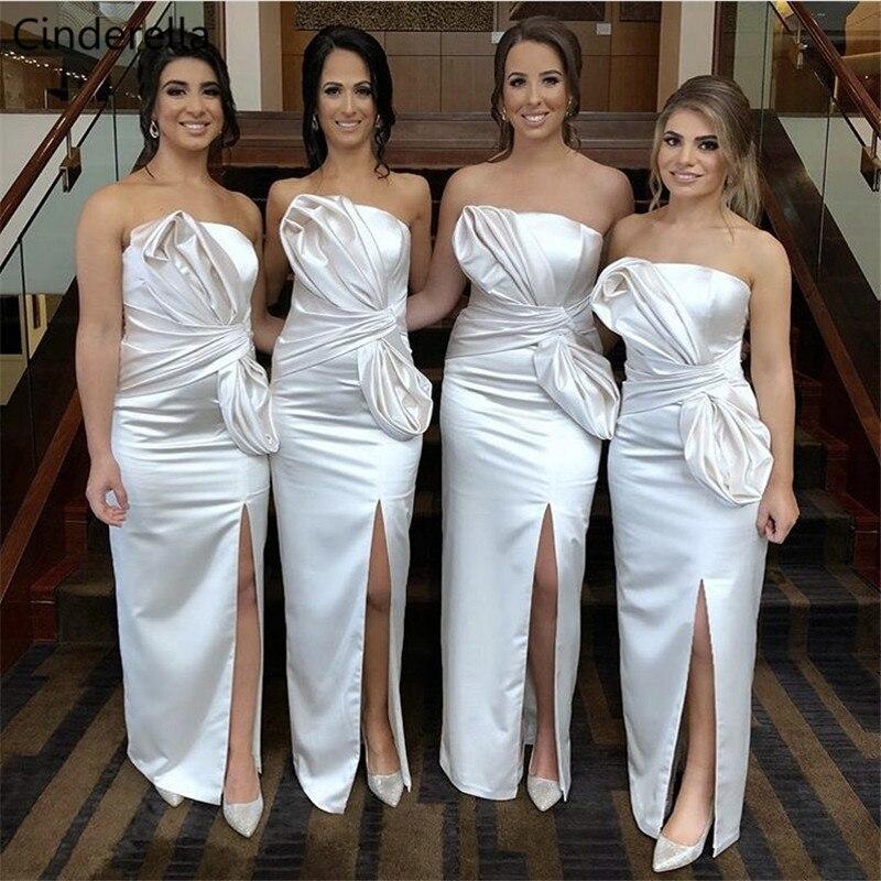 Cinderella Champagne Strapless Floor Length Side Slit Zipper Back Elastic Satin Mermaid   Bridesmaid     Dresses   Wedding Party   Dresses