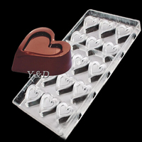 Double Heart  Hard Plastic Inject  DIY Polycarbonate DIY Chocolate Mold Baking Chocolate PC Mould
