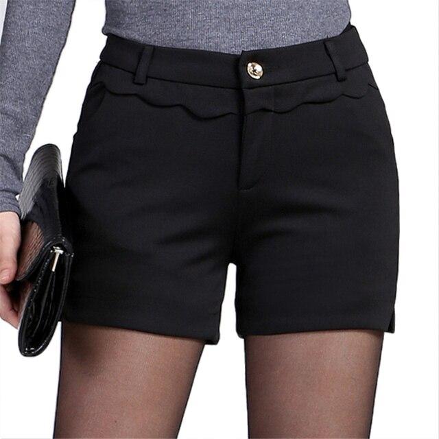 2016 Nueva Primavera Elegante Mediados de Cintura de Pantalones Cortos Negros Para Mujer Elegante Oficina Shorts Otoño Bootcut Pantalones cortos