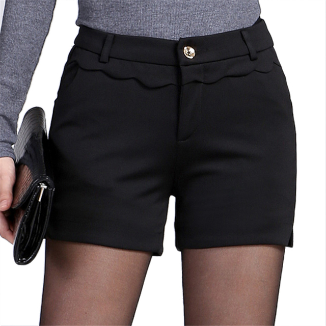 2016 Spring New Elegant Mid Waist Black Shorts Womens Elegant Office Shorts Autumn Bootcut Short Pants