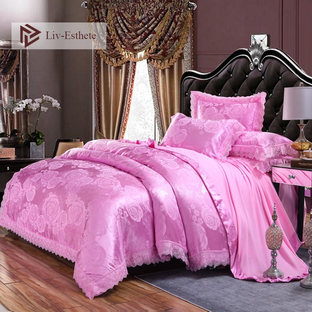 Liv-Esthete European Luxury Pink Satin Jacquard Bedding Set Lace Side Duvet Cover Flat Sheet Pillowcase Queen King Bed LinenLiv-Esthete European Luxury Pink Satin Jacquard Bedding Set Lace Side Duvet Cover Flat Sheet Pillowcase Queen King Bed Linen