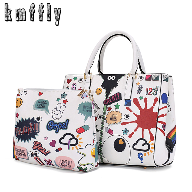 KMFFLY Cartoon Printing Bags 2018 Fashion Designer Famous Brand Women Bags Pochette Soiree Shoulder Bag Tote Bags for Women