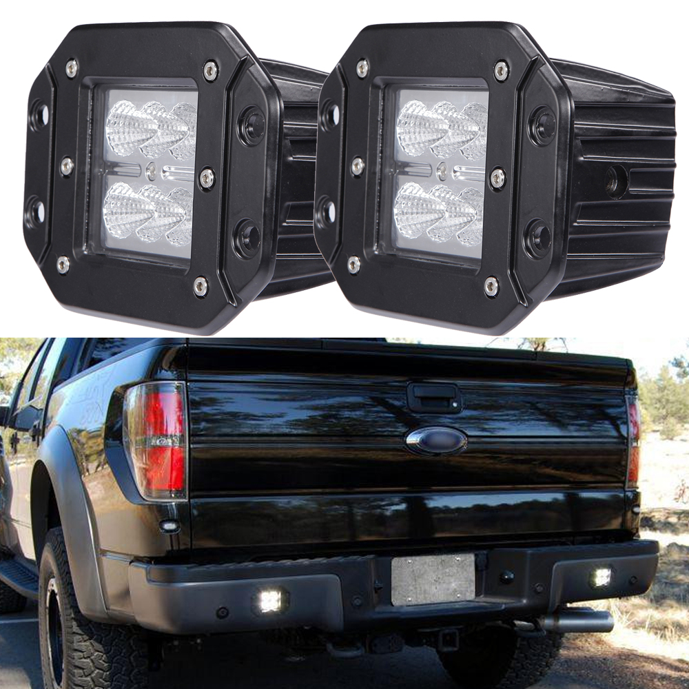 18W FLUSH MOUNT LED WORK LIGHT 12V 24V Rear Fog Lamp 4X4 Offroad