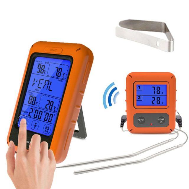 Sonda Termômetro de Forno Duplo Set Controle Remoto Sem Fio Digital Para Cozinhar Alimentos À Base de Carne