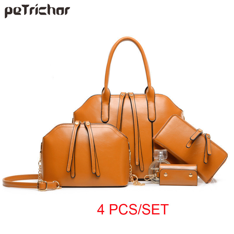Famous Brand 4 pcs Women Messenger Bag Luxury font b Handbags b font High Quality Women