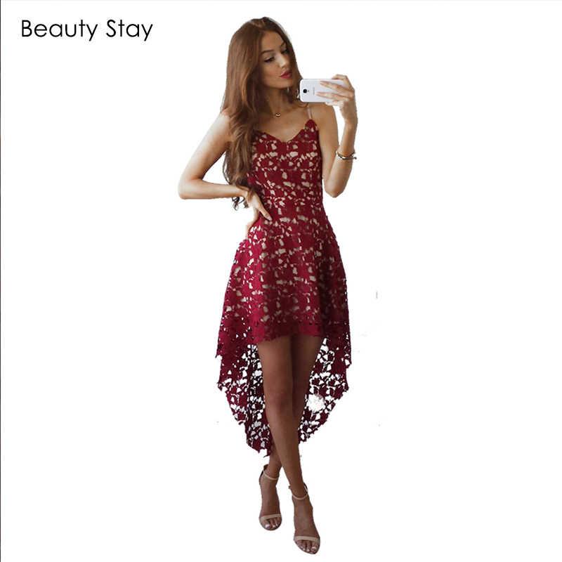BeautyStay Irregular Women Elegant Lace Dress Spaghetti Strap Sexy Night  Club Sundress Hollow Out Mermaid Evening a99fcbaddfd9