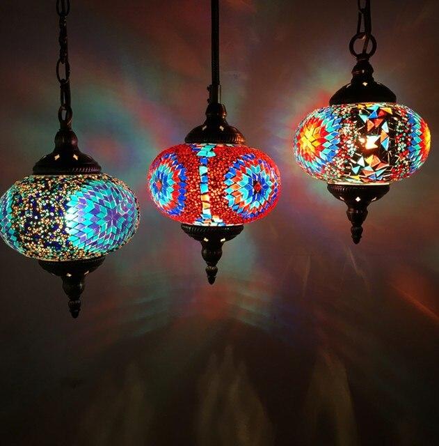 Turc marocaine pendentif lumière à la main mosaïque en verre teinté Couloir Cage D'escalier café restaurant suspendus lumière lampe