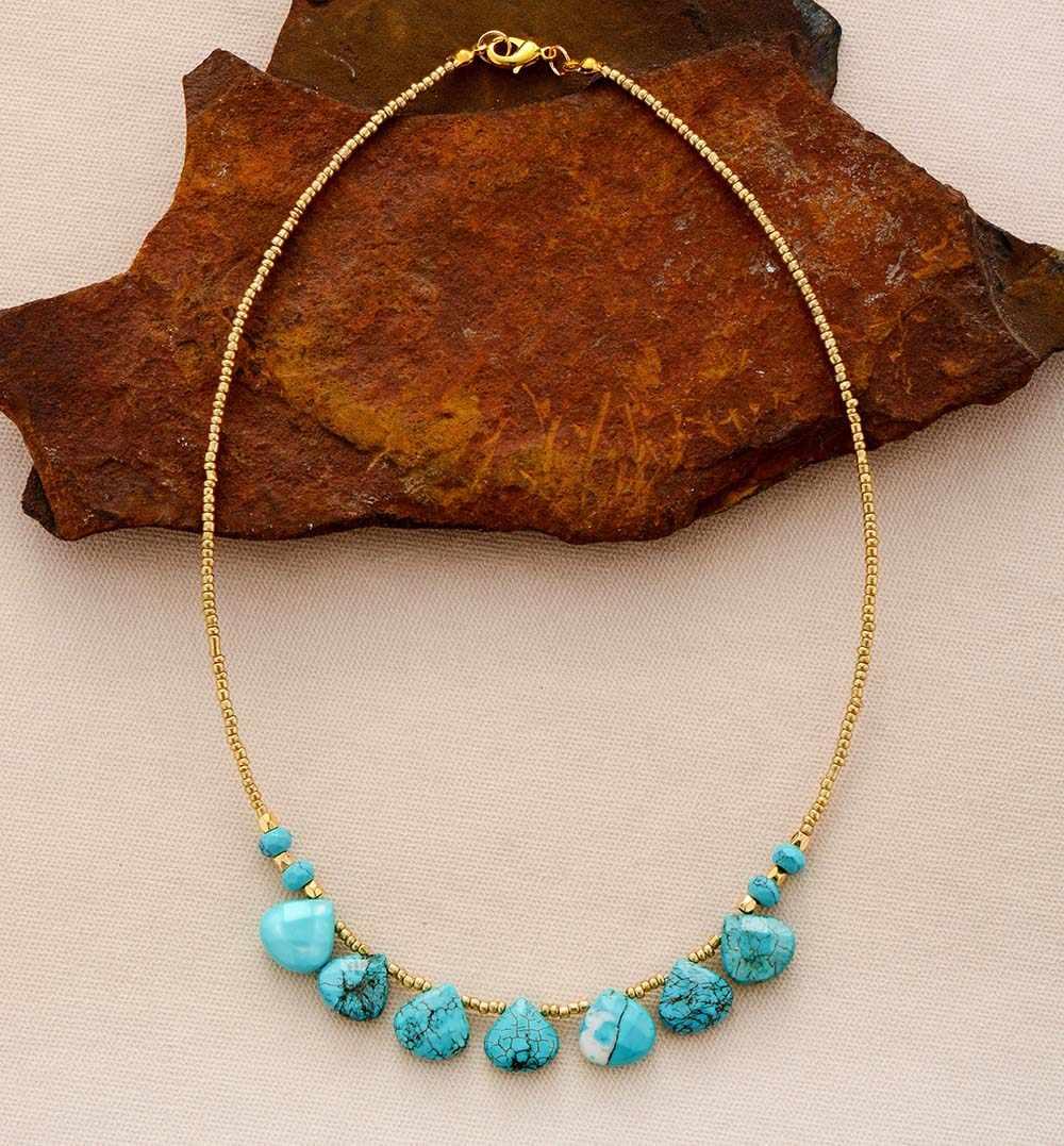 Phụ nữ Chokers Cổ Turquoises Hạt Giống Hạt Ngắn Mới Tuyên Bố Thời Trang Cổ Cô Gái Mẹ Quà Tặng Bộ Trang Sức