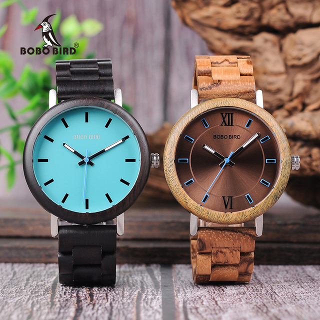 Bobo pássaro novo design relógios de madeira banda quartzo relógio de pulso para homem e mulher aceitar oem transporte da gota w * q07