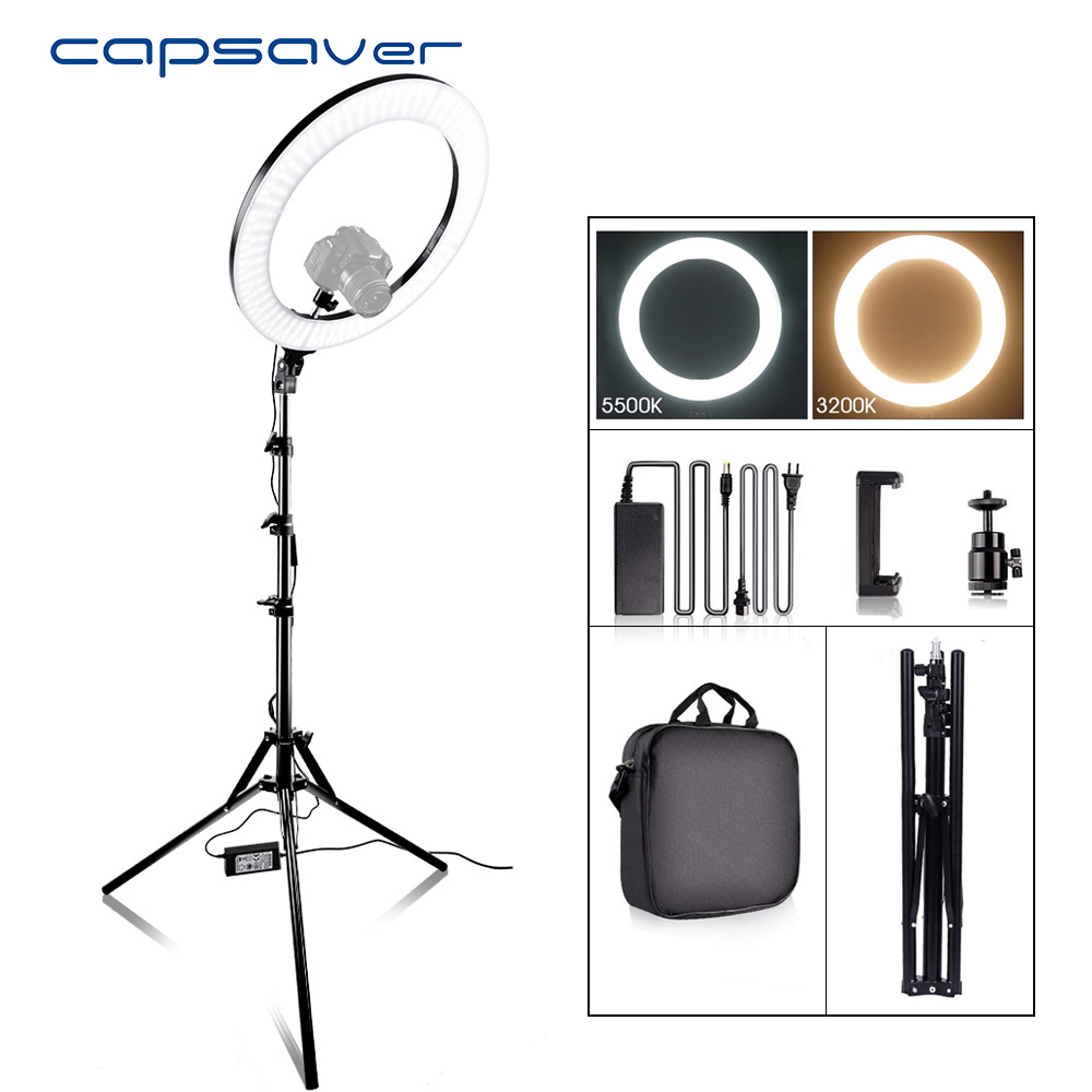 "capsaver RL 18A LED Ring Light Bi color 3200K 5500K CRI90 55W 512 LEDs 18"" Photography Lighting LED Ring Lamp for Video YouTube Photographic Lighting     - title="