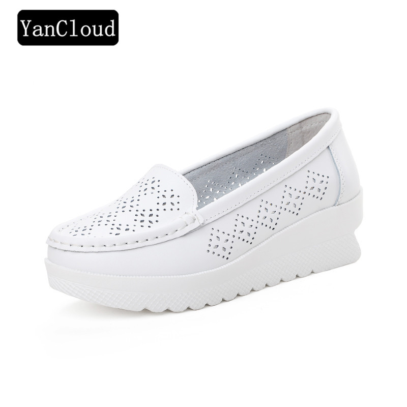 Fashion Cutout Women Shoes Summer 2018 Split Leather Moccasins for Women Flat White Nurse Shoes Creepers Platform Sneakers women creepers shoes 2015 summer breathable white gauze hollow platform shoes women fashion sandals x525 50