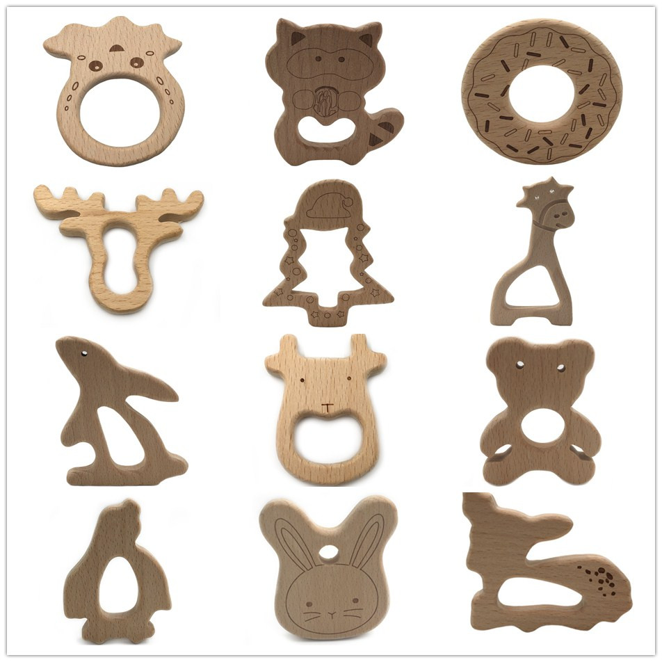 20PCS Animal Cartoon Beech Wood Teether DIY  For Teething Unfinished Wooden Baby Teether Toys Baby Shower Gift BPA Free