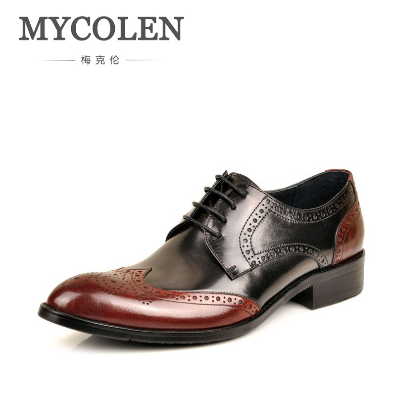 MYCOLEN British Style Bullock Carving Men Formal Shoe Pointed Toe Lace Up Leather Dress Business Low Shoes Flats Oxford Shoes british fashion men business office formal dress breathable genuine leather shoes lace up oxford shoe pointed toe teenage sapato