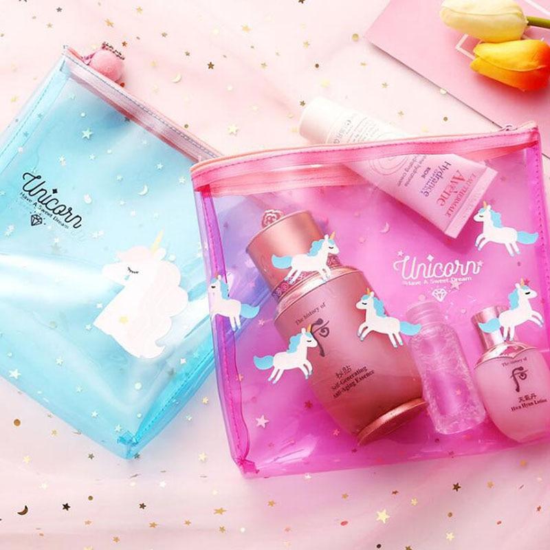 Maquillage Cosmétiques Pcs Toilette Sacs lot Mignon Transparent Beauté De 500 Femmes Cas Organisateur Sac Nécessaire Voyage À Pvc Licorne RTxqCw