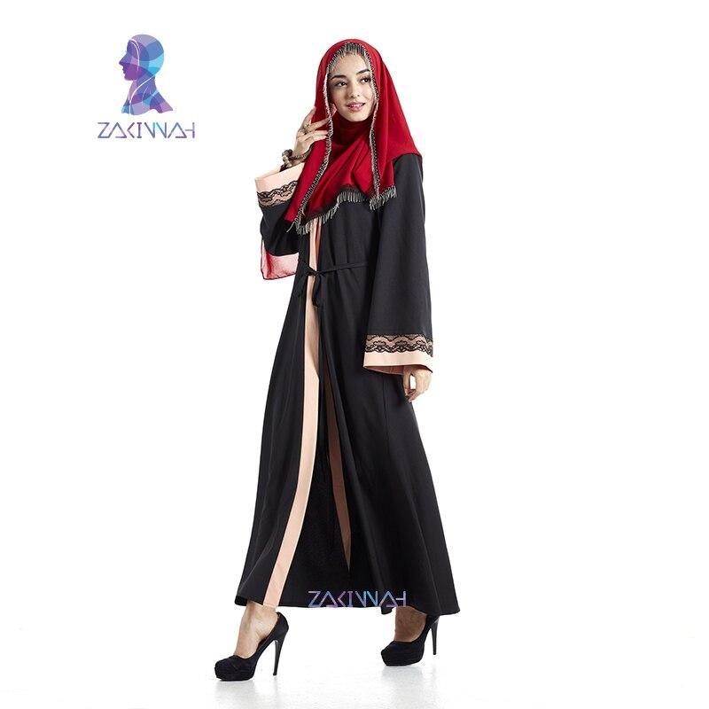 Haute Qualité Dentelle Noire Abaya Robe Musulmane Pour Femmes - Vêtements nationaux - Photo 3