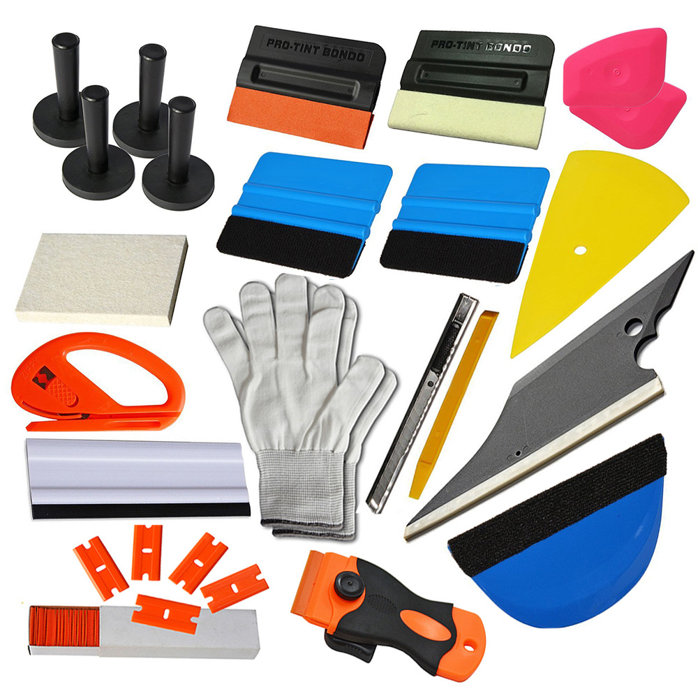 EHDIS voiture style outil ensemble voiture support magnétique vinyle Cutter couteau emballage grattoir raclette gants housse de voiture en vinyle Kit teintage outil
