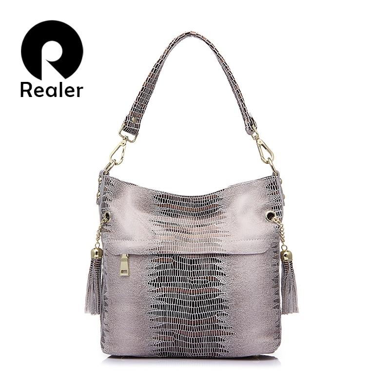 REALER women bag genuine leather crocodile bags for women shoulder messenger bags casual tote bag hobos