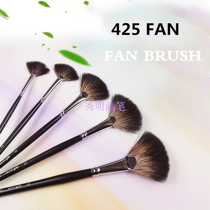 1PC 425FAN High Quality Racoon Dog Hair Wooden Handle Paint Bruhes Art Artistic Brush For Watercolor Drawing