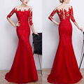 Exquisite Red Lace Formal Dress Sexy Illusion Sheer Long Evening Dresses With Sleeves Party Dresses Cheap Mermaid Gowns PF334