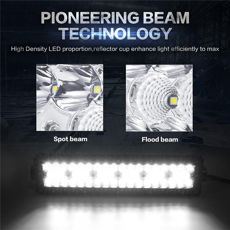 Oslamp 3-Sıralı 14inch Düz LED İşıq Bar Ləkəsi + Daşqın - Avtomobil işıqları - Fotoqrafiya 5