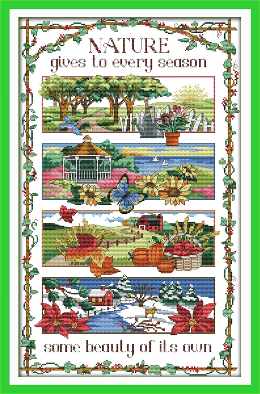 Four season counted printed on fabric DMC 14CT 11CT Cross Stitch kits embroidery needlework Sets Home