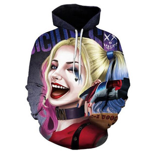Image 4 - Super villain Cosplay Harley Quinn 3D Cotton hoodie Men and women clothing Anime costume Role playing costume The New