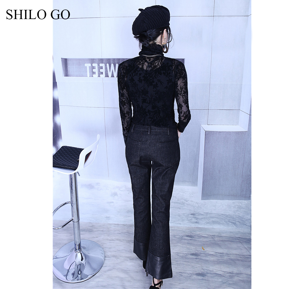 SHILO GO Leather Pants Womens Spring fashion sheepskin genuine leather Pants high waist metal button patchwork small flare jeans - 4