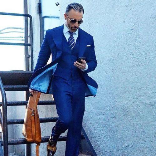 2018 Latest Coat Pant Designs Blue Men Suit Slim Fit 3 Piece Tuxedo Prom Suits Jacket Custom Groom Blazer wedding dress