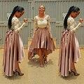 Satén largo Faldas Mujeres 2016 Más El Tamaño 5XL Otoño Vintage Hi bajo Arco Asimétrico Correa Partido Maxi Falda Venta Caliente Falda Plisada