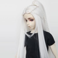 Luodoll muñeca sd Bjd peluca muñeca silla individual 3 puntos en el sub-pelucas blanco gris plata de color morado oscuro