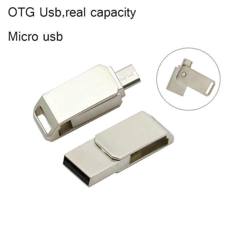 New OTG USB Flash Drive 8GB 16GB 32GB USB Pen Drive OTG External Micro USB Stick Memory Full Capacity Pendrive Metal U Disk