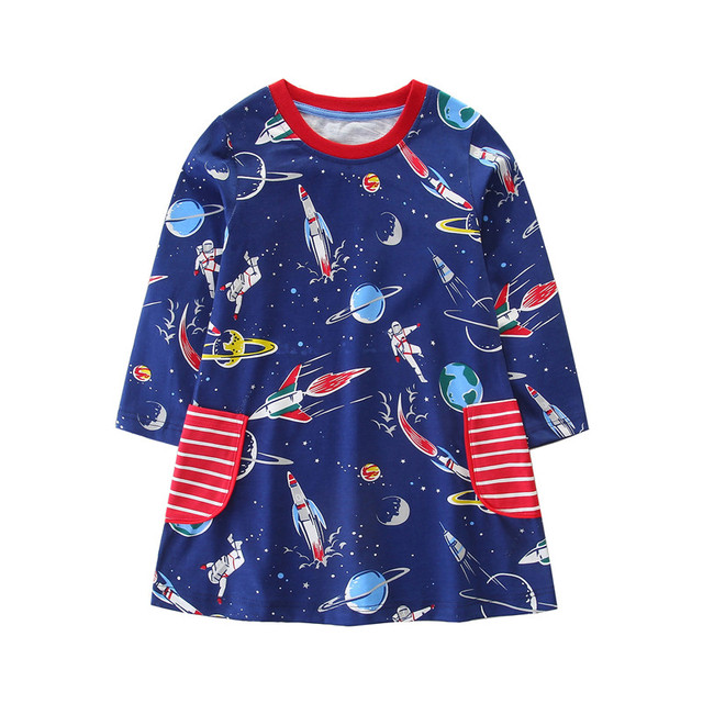 Printed outer space rocket astronaut baby girls cartoon dresses kids new  designed spring autumn clothing long 191481605be4