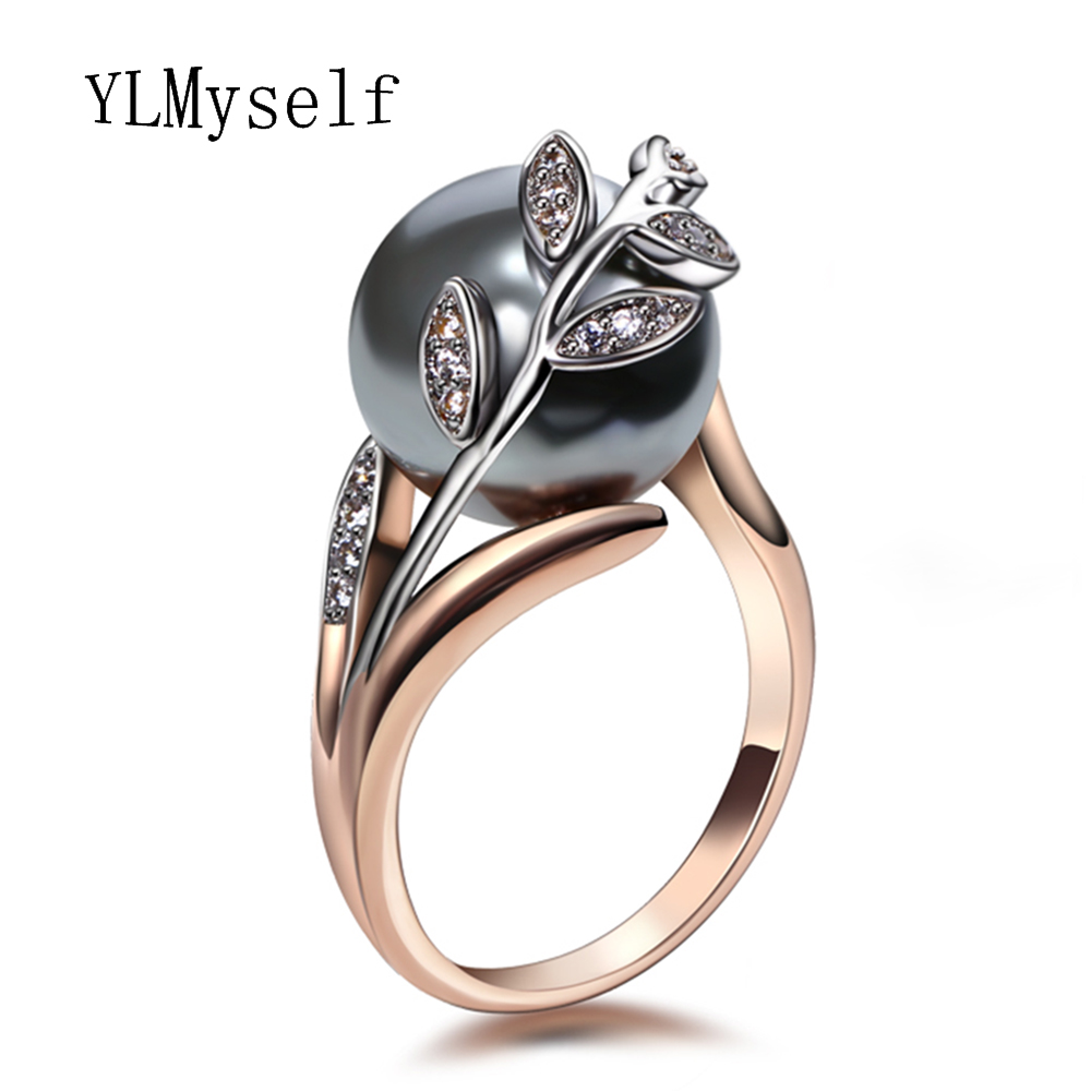Rose gold color ring with grey Pearl Top Quality leaf design Trendy