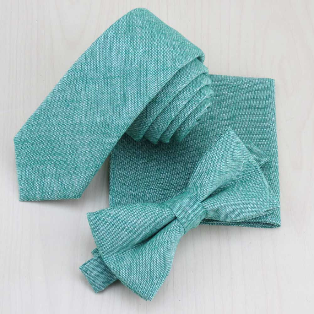 (1 Set/lot) Grass Green Cotton Necktie Bowtie Match Pocket Square Set Men's Fashion Monochrome Narrow Tie Gravata