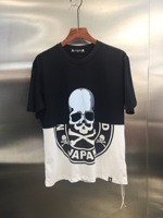 2019 Summer New Mastermind Japan Skull Print Black White Colour Blocking Women Men T shirts tees Hiphop Men Cotton T shirt 3XL