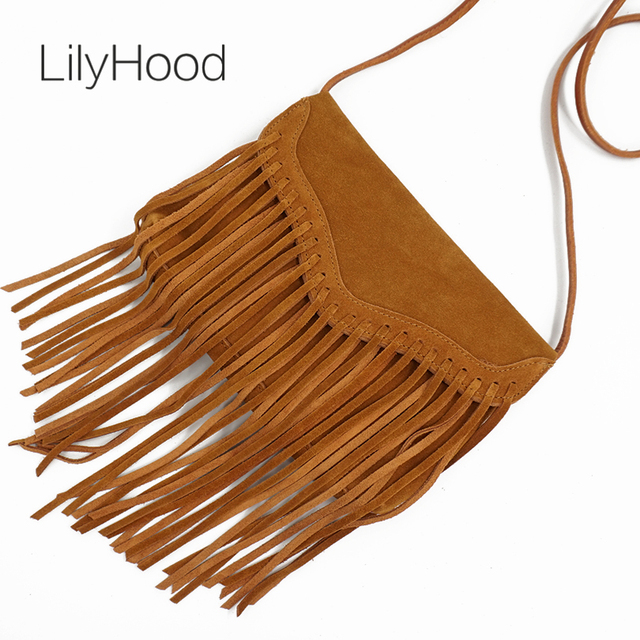 LilyHood Women Genuine Leather Suede Fringe Crossbody Bag Brown Tassel Boho Hippie Gypsy Ibiza Bohemian Feminine Shoulder Bag