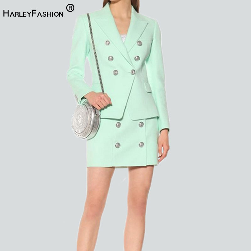 HarleyFashion New Color Mint Twin Sets Buttons Blazer Straight Short Skirt Women Slim Formal Skirt Suits High Quality