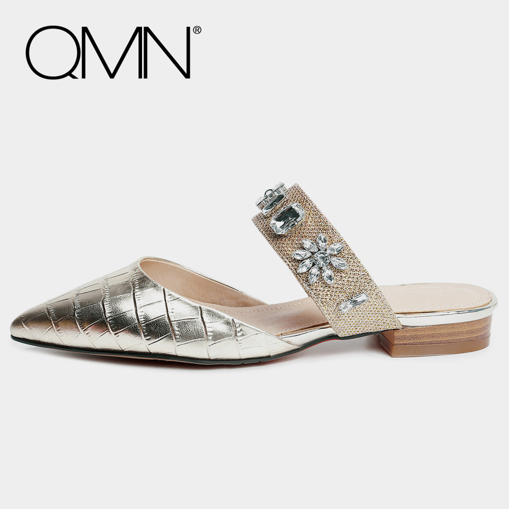 QMN women genuine leather mules Women Crystal Embellished Pointed Toe Summer Slippers Slip On Casual Shoes Woman Slides 34-43 qmn women crystal embellished natural suede brogue shoes women square toe platform oxfords shoes woman genuine leather flats