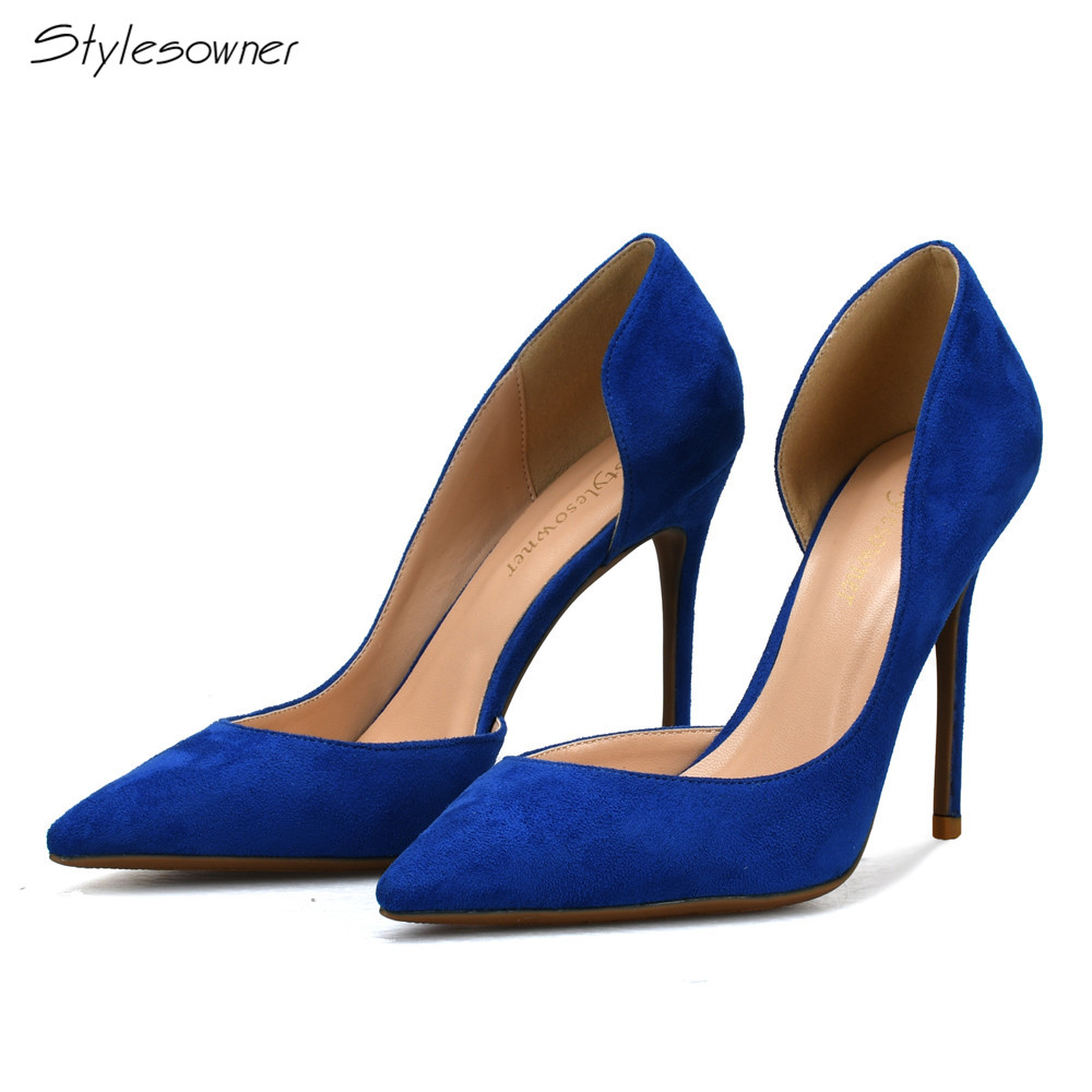 Stylesowner Plus Size 44/45/46 Fashion Pointed Toe Thin High Heels Woman Shoes Sexy Faux Suede Women's Pumps Blue Green summer bling thin heels pumps pointed toe fashion sexy high heels boots 2016 new big size 41 42 43 pumps 20161217