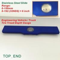 Free Shipping 1pc 8 Long Engineering Vehicle Truck Bus Tire Tread Depth Gauge 0 150mm 0