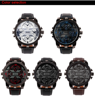 4 Time Zone Leather Band Casual Japan Quartz Movement Wrist Watch Luxury Timepiece 3