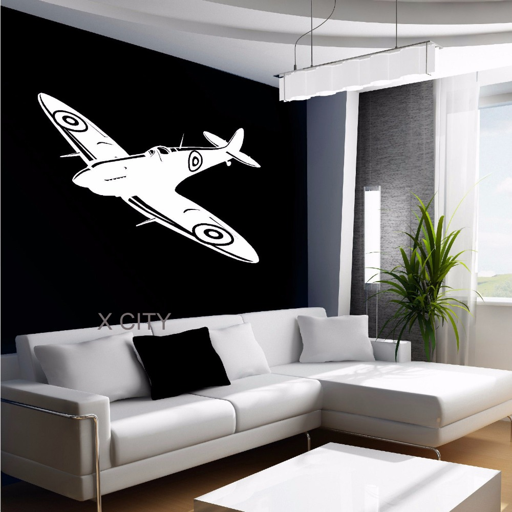 Spitfire british fighter aircraft plane aeroplane wall art for Decal wall art mural