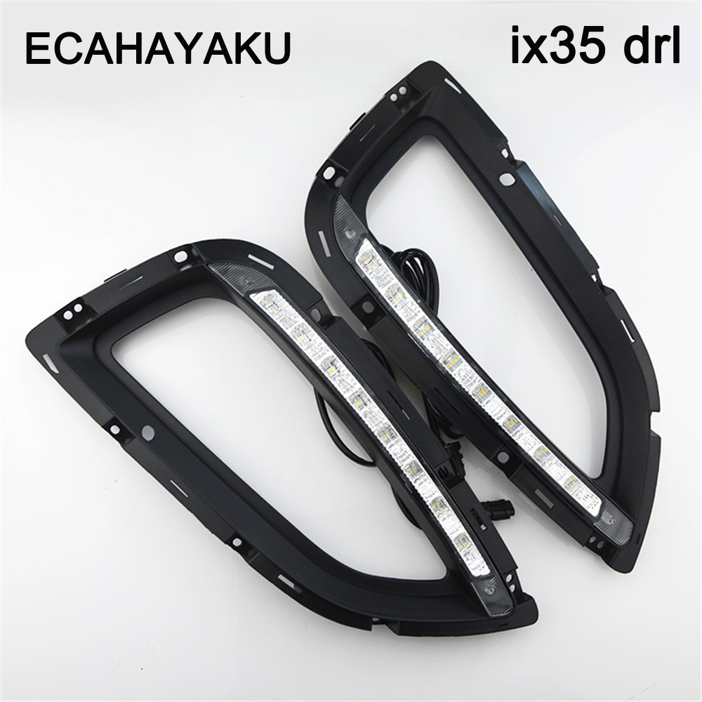 High Quality Car Styling Case LED Headlight DRL Lens Daytime Running Light for Hyundai ix35 2013-2015 Headlight Car Accessories led car light for hyundai ix35 ix 35 2010 2011 2012 2013 car styling led drl daytime running light waterproof wire of harness