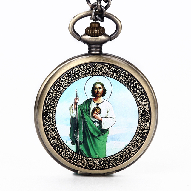 Retro Mary Easter Pocket Fob Watch with Chain Full Hunter Japan Quartz Movt Pocket Clock For Men Gift Male Relogio De Bolso 2018