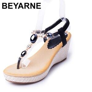 Image 1 - BEYARNE summer new sweet slope with female high heeled sandals women Bohemian diamond students shoes flip flops