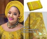 Полностью в блестках 5 ярдов Африканский французский кружевной тюль ткань соответствующие ASO OKE полная длина тюрбан Headwrap мудрый выбор